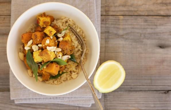 curry brown rice tofu