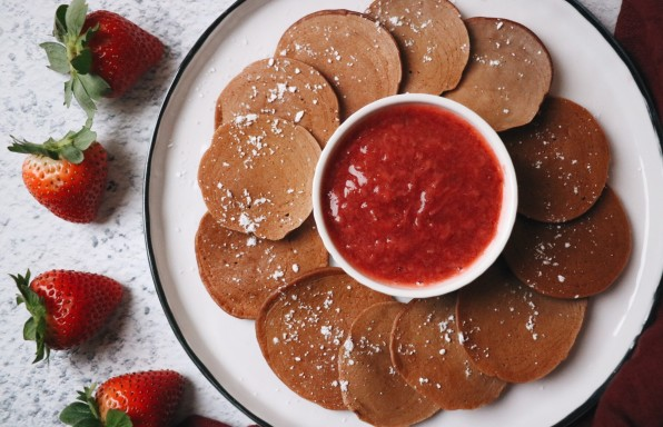 Chocolate Pancakes with Strawberry Compote